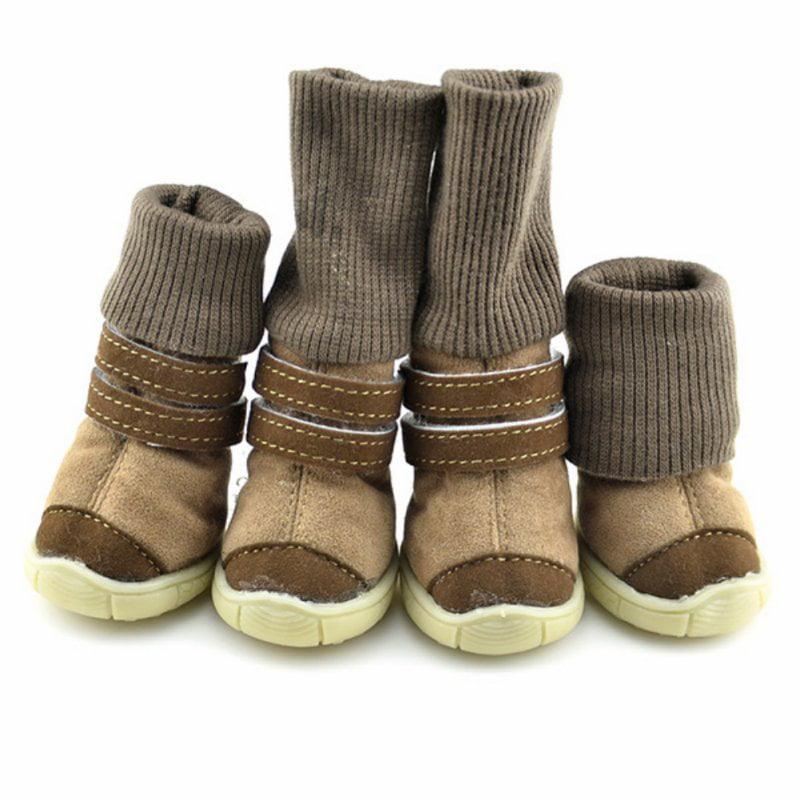 4PCS Pet Dog Shoes Mesh Boots for Snow Rain Reflective Anti-slip