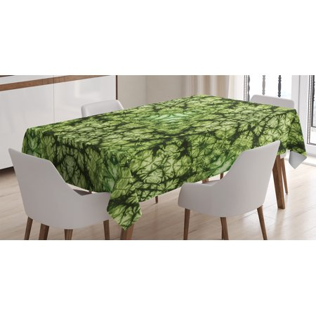 Tie Dye Decor Tablecloth, Free Nature Inspired Mind Bind Folded Color Silhouette Counter Culture Artsy Print, Rectangular Table Cover for Dining Room Kitchen, 60 X 90 Inches, Green, by Ambesonne - Tie Dye Tablecloth