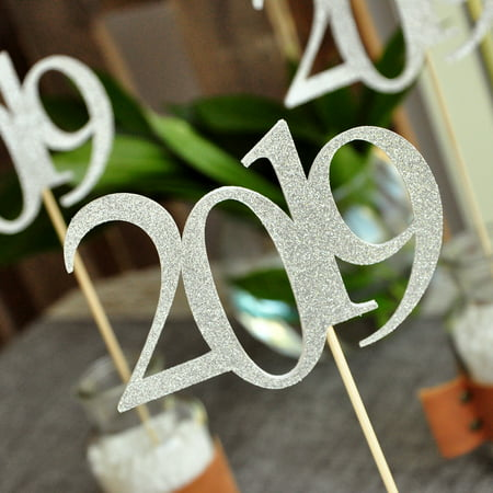 Silver 2019 Graduation Centerpiece Sticks. (3 Single 2019 Sticks). Crafted in 1-3 Business Days. Silver Graduation Centerpiece Ideas. (Graduation Cap Idea)