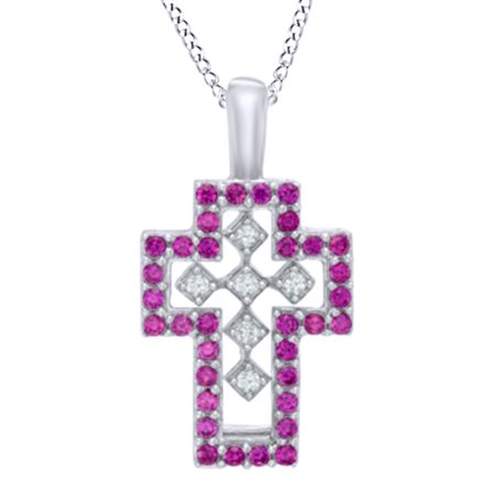Simulated Ruby   White Sapphire Cz Interchangeable Double Cross Pendant In 14K White Gold Over Sterling Silver