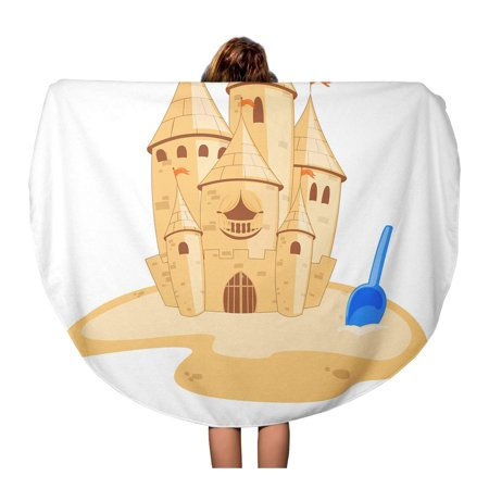 SIDONKU 60 inch Round Beach Towel Blanket Yellow Sand of Sandcastle Castle Beach Cartoon House Pail Travel Circle Circular Towels Mat Tapestry Beach Throw - Yellow Sand Beach
