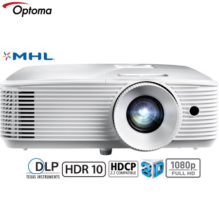 Optoma HD27HDR 3400 Lumens 1080p Home Theater Projector, White (Renewed)