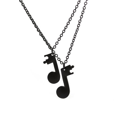 1 Pair Music Note Pendant Couple Necklaces Long Chain Necklace Jewelry Design