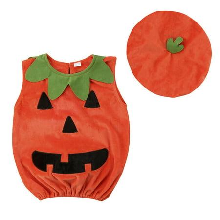 Cheap Pumpkin Costume (Cosplay Halloween Baby Kid Pumpkin Suit Top Blouse Dress+Hat Clothes)