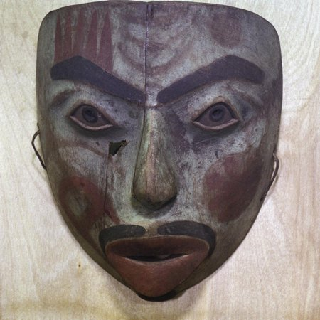 Mask in the form of a human face, Tlingit people, north-western coast of America Print Wall Art By Werner Forman