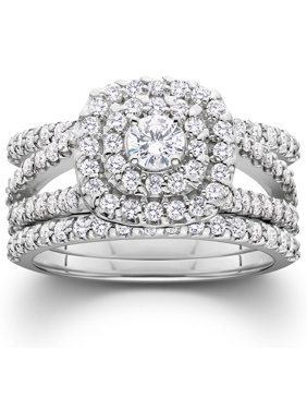1 1/4 Ct Three Ring Diamond Cushion Halo Engageent Wedding Band Set White Gold