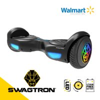 SWAGTRON Swagboard EVO Hoverboard with LED Light-Up Wheels, Automatic Self-Balancing, UL2272-Compliant Lithium-Free Battery with SentryShield® Quantum Protection