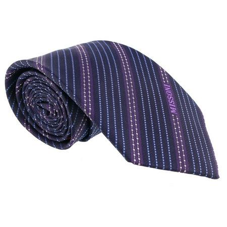 100% Woven Silk Necktie (Missoni Multi Stripe Blue/Purple Woven 100% Silk Tie )