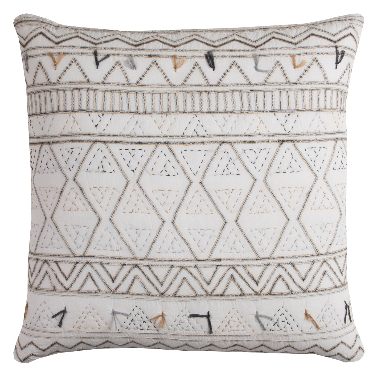 "Rizzy Home Decorative Throw Pillow with Zipper Closer, 22"" x 22"", Ivory"