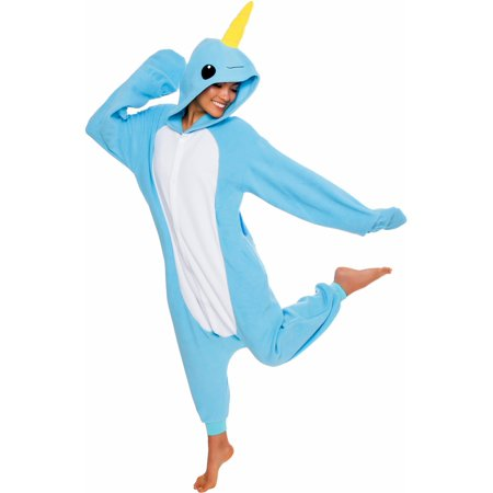 SILVER LILLY Unisex Adult Plush Narwhal Animal Cosplay Costume Pajamas