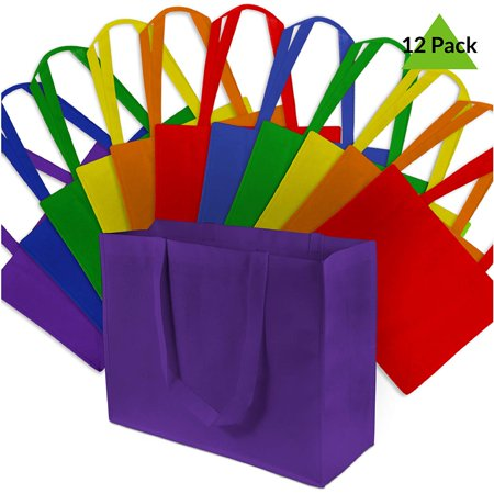 16x12x6  Large Multi Color Reusable Gift Bags, Shopping Bags, Grocery Bags Large size multi color reusable gift bags measure 16 W x 12 H X 6 D and comes with 12 bags. Made from durable and reusable PPNW fabric. Great as grocery bags, retail shopping bags, large gift bags, event bags or as food servcie take out bags. Place a logo sticker on them to create your own randed bags.