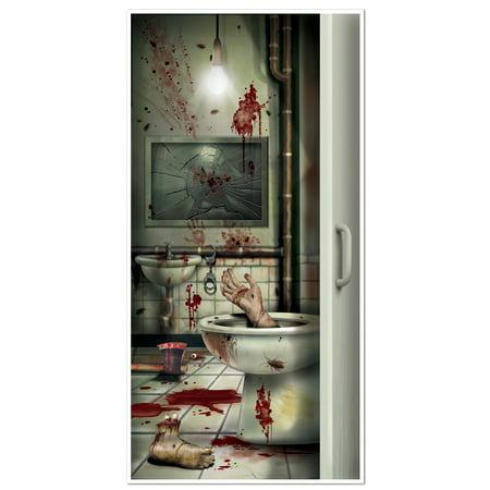 CREEPY CRAPPER RESTROOM DOOR COVER - Creepy Halloween Music