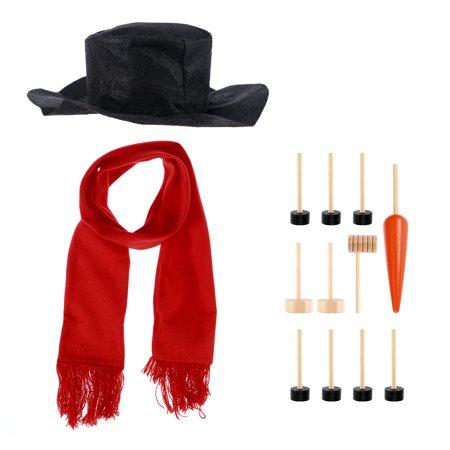 Snowman Decorating Dressing Kit Winter Holiday Outdoor Toys Decoration Christmas Gift Hat Scarf Pipe Eyes Mouth Button Nose 13pcs Accessories Included ()