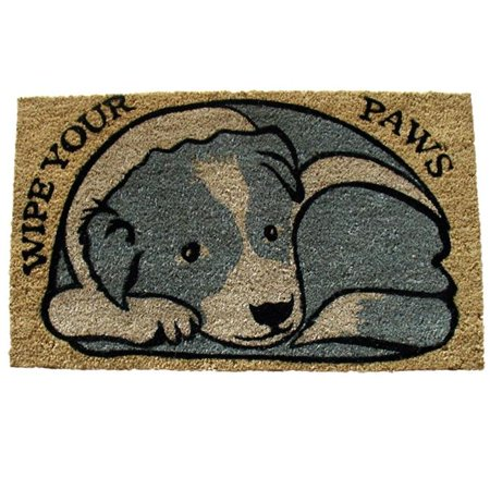 Geo 609 Entry - Geo Crafts G275 Pvc Paws 18 x 30 in. Wipe Your Paws-Dog Entry Way Doormat
