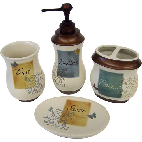 butterfly blessings 4pc bath accessory set walmartcom - Walmart Bathroom Sets