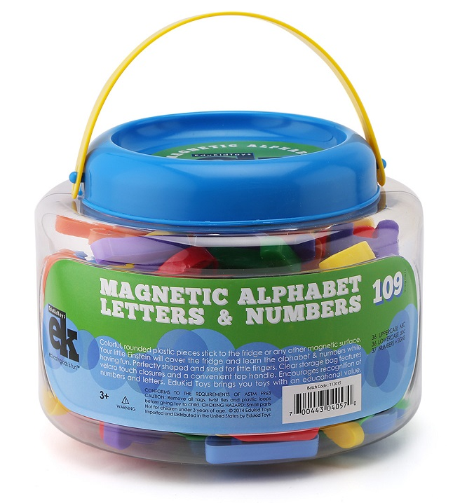 EduKid Toys MAGNETIC LETTERS & NUMBERS 109 Educational Magnets in Bucket
