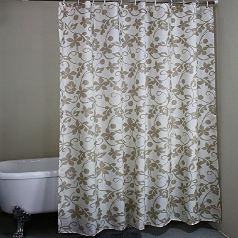 ... Ivy Leaves Waterproof Fabric Extra Long Shower Curtain 72 X 78 Inches    Grey/