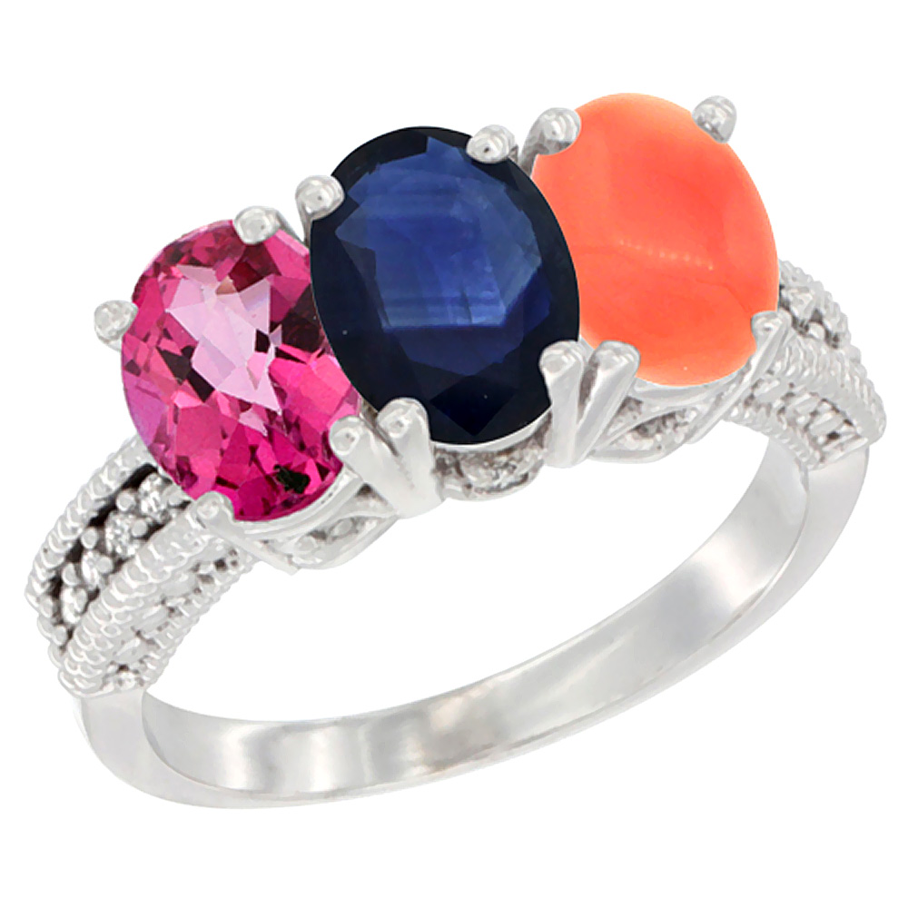 14K White Gold Natural Pink Topaz, Blue Sapphire & Coral Ring 3-Stone 7x5 mm Oval Diamond Accent, sizes 5 10 by WorldJewels