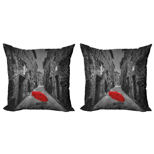 Black And White Throw Pillow Cushion Cover Pack Of 2 Red Umbrella On A Dark Narrow