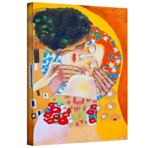 ArtWall 'Interpretation of The Kiss by Gustav Klimt' by Susi Franco Painting Print on Wrapped Canvas