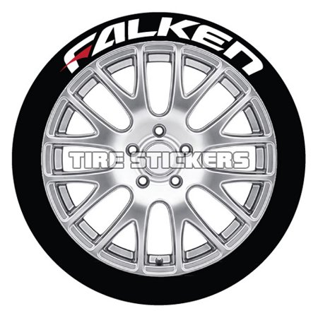 Falken Wheels - FALKEN w/ RED DASH Tire Stickers - White - 1.0