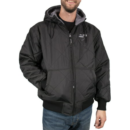 Freeze Defense Men's Fleece Lined Quilted Winter Jacket Coat (Small, Black) ()