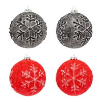 Holiday Time Christmas Snowflake Textured Round Black & Red Ornaments, Set of 4