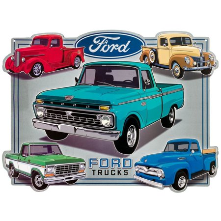 Open road brands ford trucks collage embossed garage tin for Garage ford 59