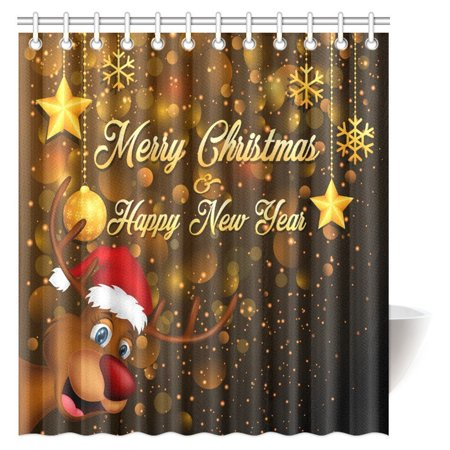 MYPOP Merry Christmas Shower Curtain Cute Rudolph The Reindeer With Santa Hat Holiday Kids Themed
