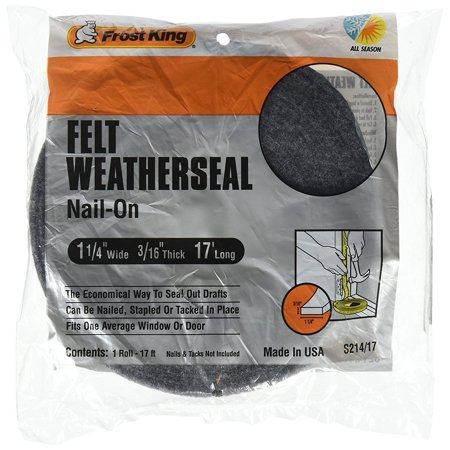 S214 17H Felt Weather Strip 1 1 4 Inch By 3 16 Inch By 17 Feet  Grey  An Economical Way To Seal Out Drafts By Frost King