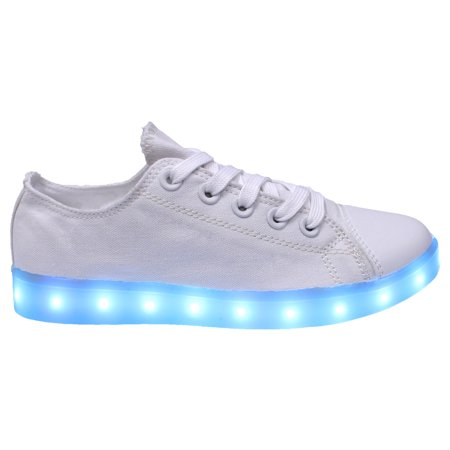Galaxy LED Shoes Light Up USB Charging Low Top Canvas Women Sneakers (White)