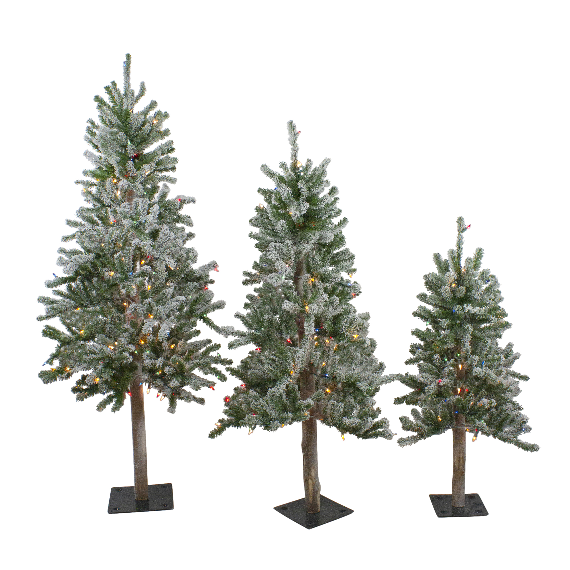 Set Of 3 Pre Lit Flocked Alpine Artificial Christmas Trees 3 4 And 5 Multi Lights Walmart Canada