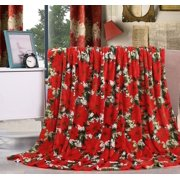"""Let It Snow Collection Holiday Microfleece Throw Blanket (50"""" x 60"""") - Poinsettia"""