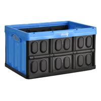 Folding Plastic Storage Crate Blue