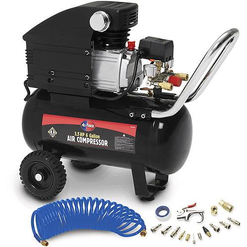 All Power 3 5 Peak Hp 6 Gallon Air Compressor With Accessories Walmart Com