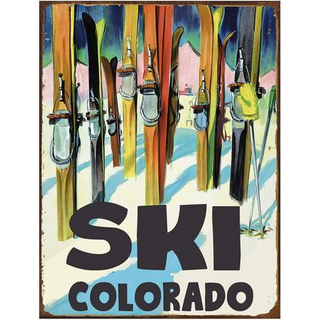 Metal Ski Sign (Ski Colorado Metal Sign )