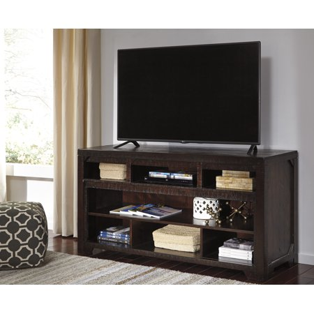 Ashley Furniture Rogness Dark Brown Tone Large Tv Stand With Open Media Storage