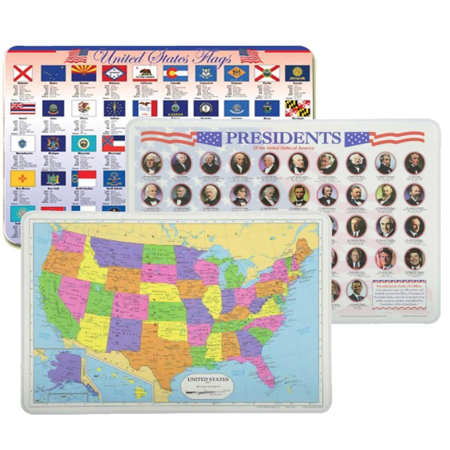 USA Placemats Set: Presidents, USA Map, State Flags (3 Wipe-Off Placemats)