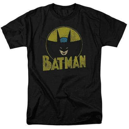 Batman DC Comics Superhero Distressed Comic Circle Adult T-Shirt Tee (Adult Batman Shirt)
