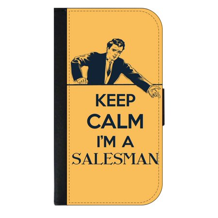 Keep Calm I'm a Salesman - Wallet Style Cell Phone Case with 2 Card Slots and a Flip Cover Compatible with the Apple iPhone 4 and 4s