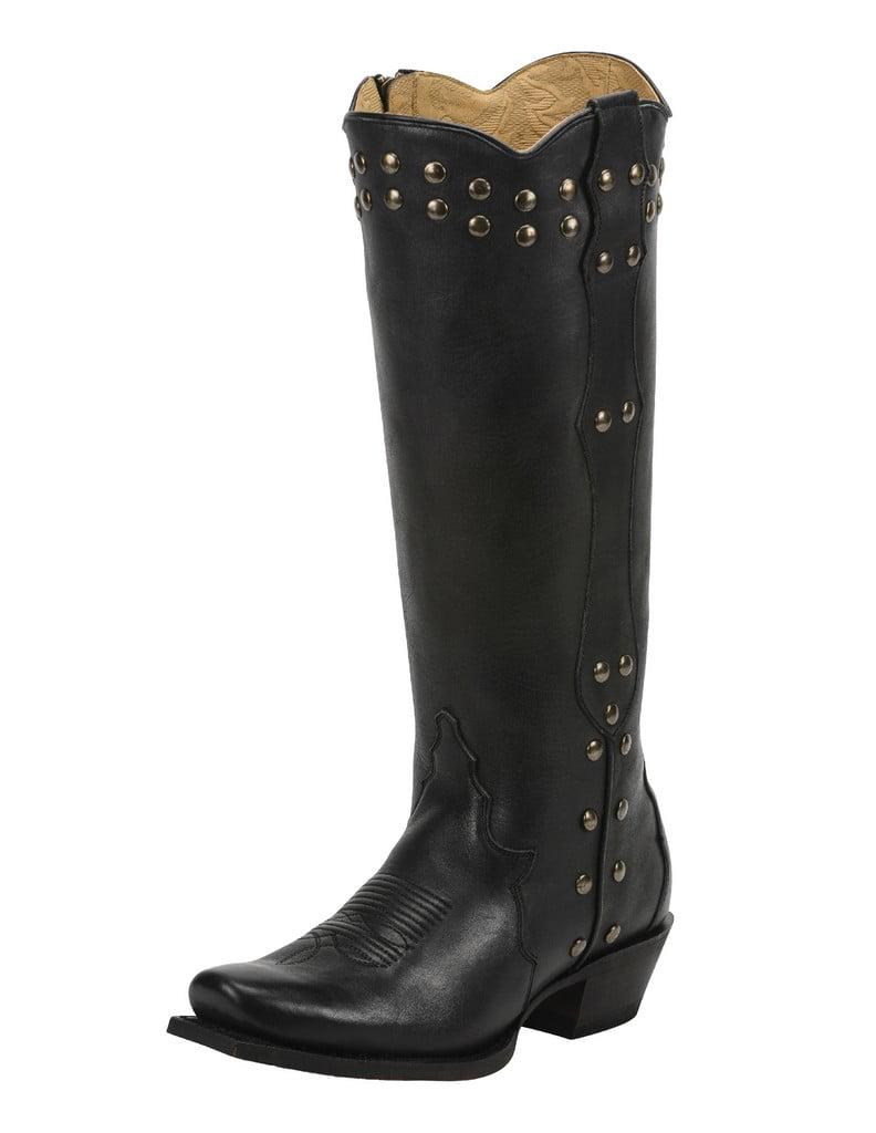 Tony Lama Western Boot Womens Sarai Leather Sq Toe 10 B Black VF3050 by Tony Lama Boots