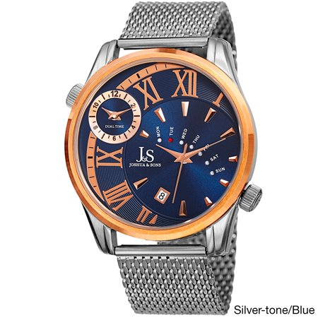 - Men's Quartz Multifunction Dual Time Stainless Steel Mesh Bracelet Watch - GOLD