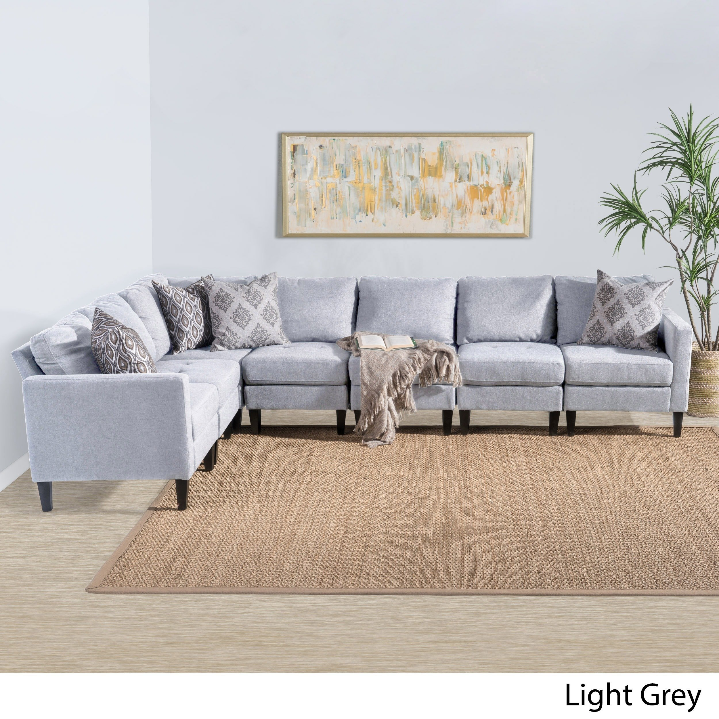 Christopher Knight Home Zahra 7-piece Fabric Sectional Sofa Set by ...