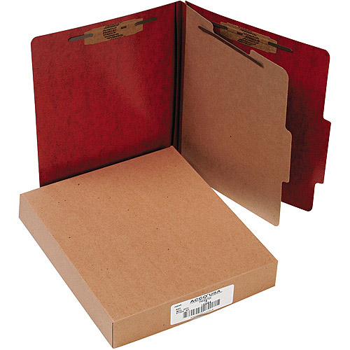 ACCO Brands Presstex 20-Point Classification Folders, Letter, Red, Box of 10