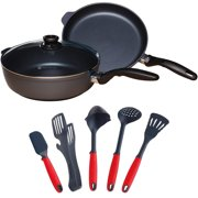 Swiss Diamond 3 Piece Set Nonstick Fry Pan, Saute Pan with Kitchen Tools Set