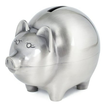 Classic Piggy Bank   Non Tarnish Brushed Pewter By Creative Gifts