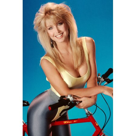 Heather Thomas Sexy Pose In Lycra Pants Low Cut Top On Bicycle 24x36 -