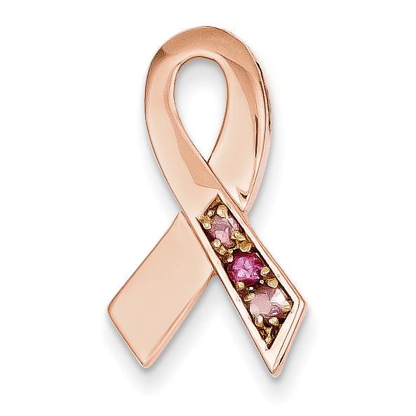 Roy Rose Jewelry 14K Rose Gold Pink Tourmaline Awareness Ribbon Slide by