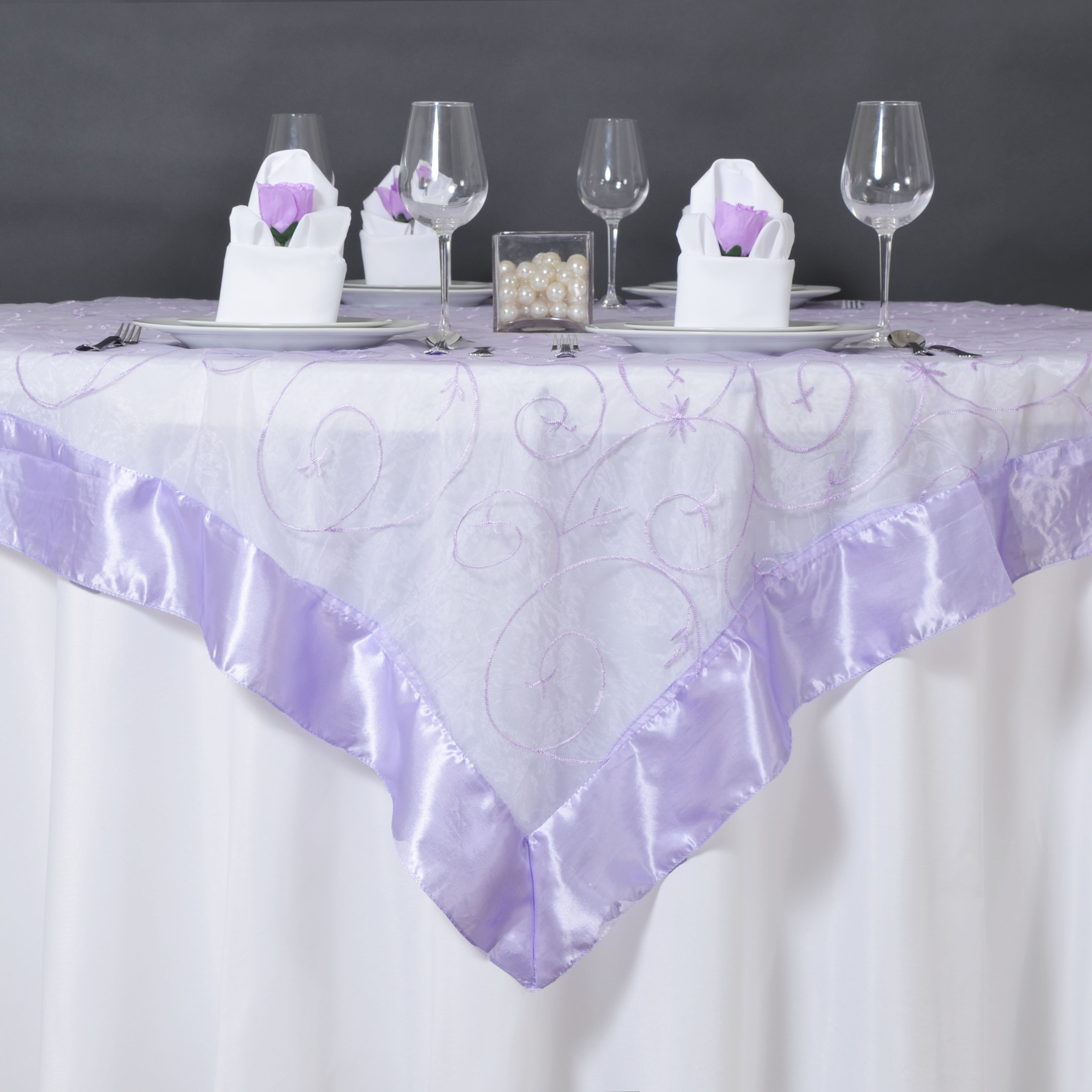"""BalsaCircle 72"""" x 72"""" Embroidered Sheer Organza Table Overlays - Wedding Party Reception Catering Linens Dinner Banquet Decorations"""