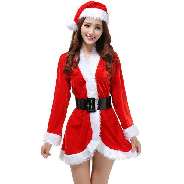 Womens Santa Claus Sweetie Costume Santa Babe Hoodie Dress with Belt